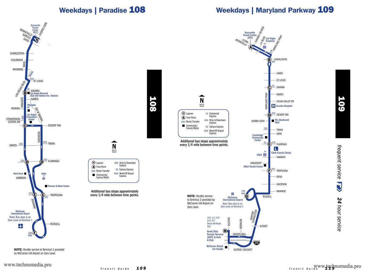 Карта маршрутов автобусов 108 и 109 из международного аэропорта Лас-Вегас до центра города