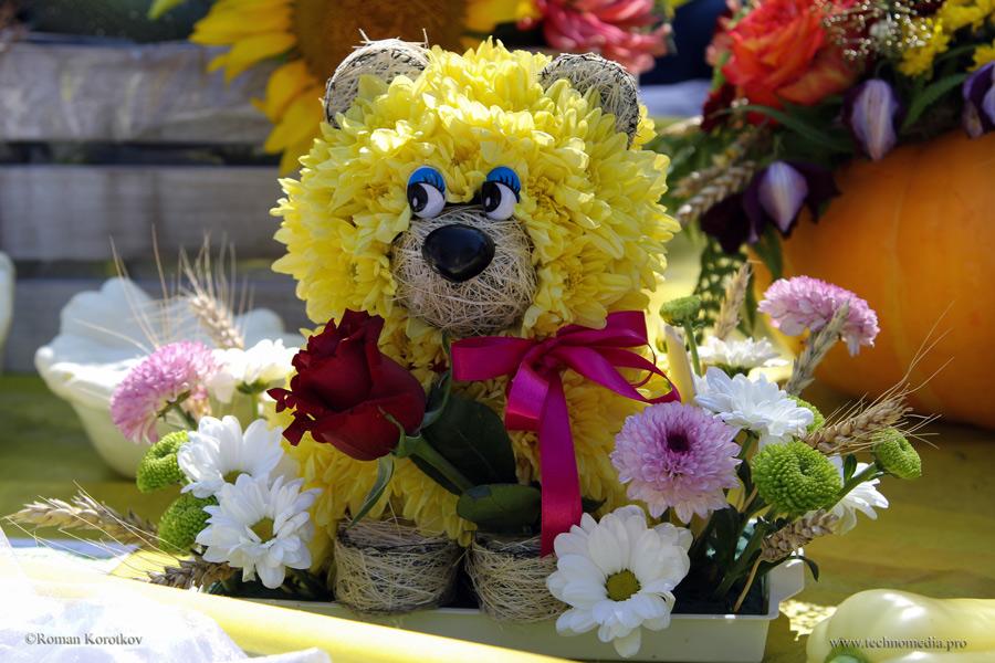 Мишка из цветов Хризантем